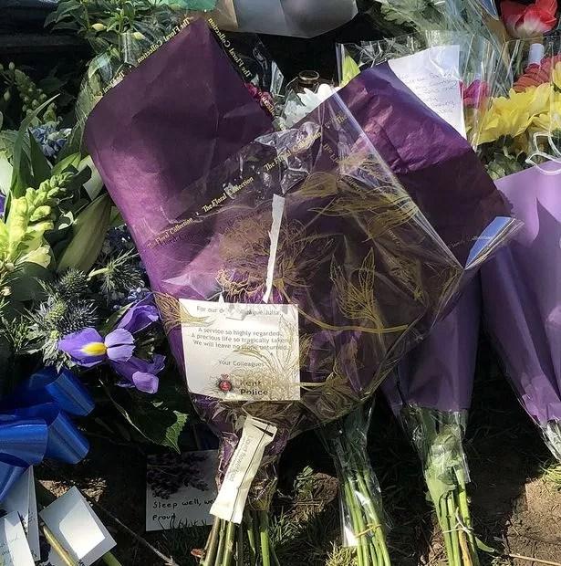 Flowers left in memory of Julia James