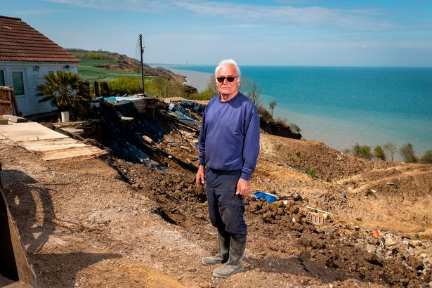 Ed's home is one of a number of properties at risk of falling down the cliffs