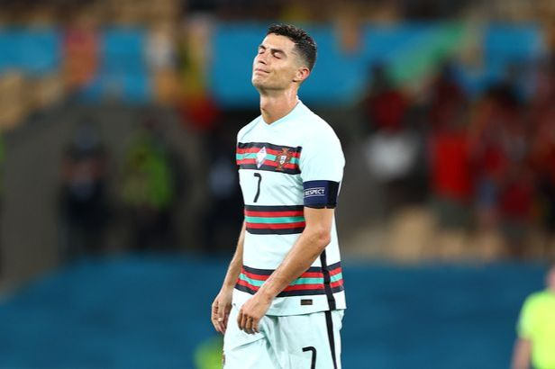 Cristiano Ronaldo of Portugal looks dejected following defeat