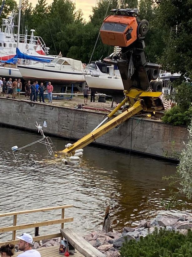 It is not known who owns the yacht but it was being lowered in the water at a residential complex to the West of St Petersburg