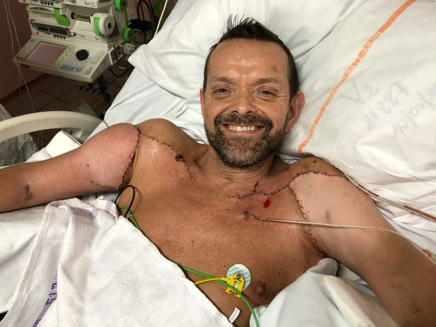 Smiling in hospital after the successful, ground-breaking op