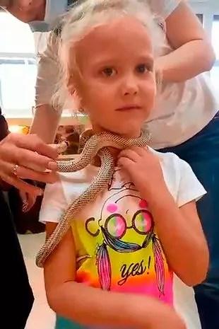 Viktoria, 5, was bitten by a snake in petting zoo Butterflies Park