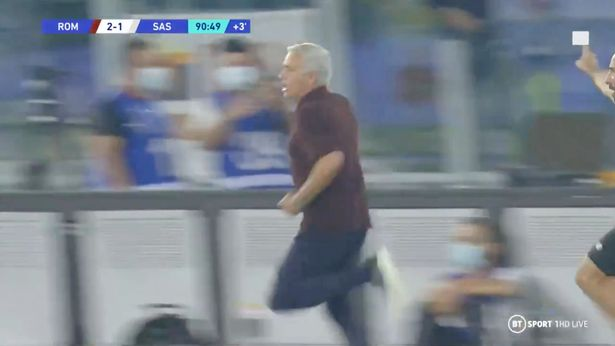 Jose Mourinho sprinted down the touchline as Roma scored in the last minute