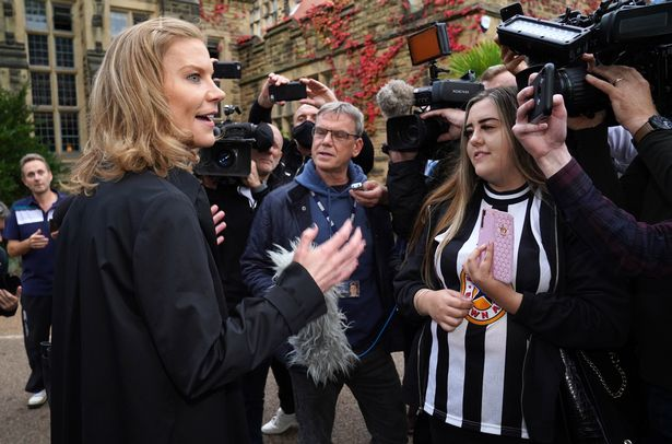 New Toon co-owner Amanda Staveley with fans outside St James Park following Thursday's takeover