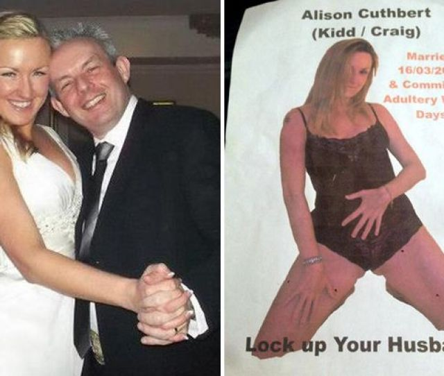 Shock Ian Cuthbert Posted This Raunchy Poster Of His Wife On Lamposts And Outside A School