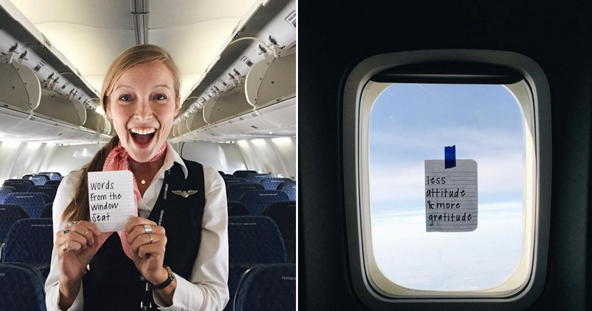 Flight attendant leaves secret notes for passengers which will make you smile  Mirror Online