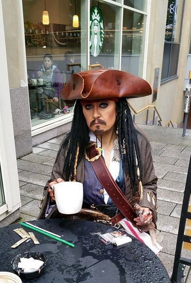Amanda spent thousands of pounds changing into her idol Jack Sparrow from the Pirates of the Caribbean films