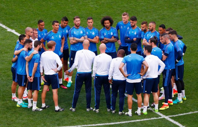 Real Madrid train at the San Siro ahead of the Champions League ...