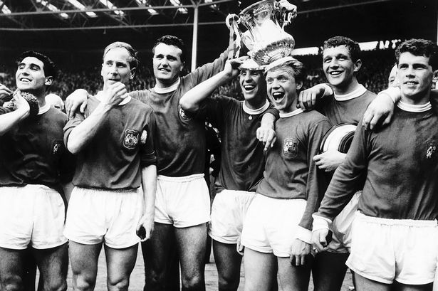 Tony Dunne, Bobby Charlton, Noel Cantwell, Pat Crerand, Albert Quixall, David Herd and Johnny Giles from Manchester United