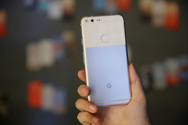 The new Google Pixel phone is displayed following a product event