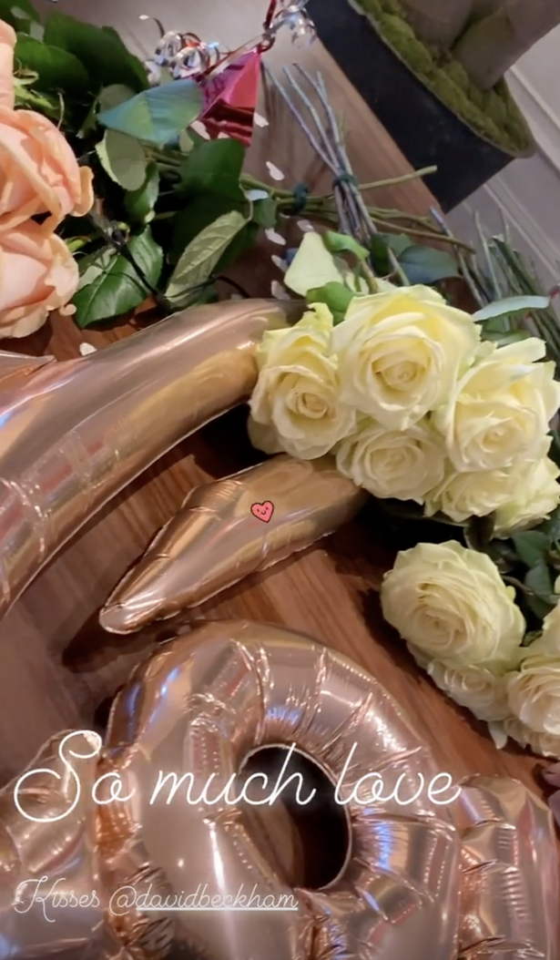 David Beckham had bought roses and balloons for his wife Victoria and daughter Harper Beckham