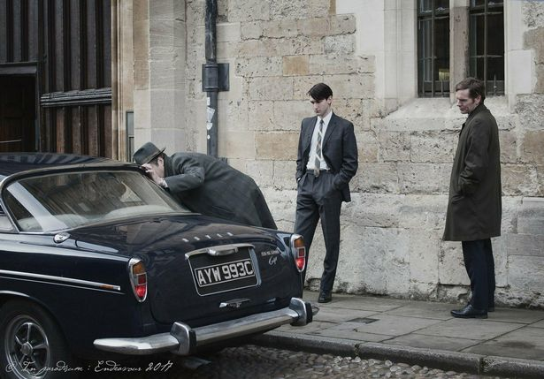 Lewis Peek, centre, shooting a scene from the new series of Endeavour in Oxford