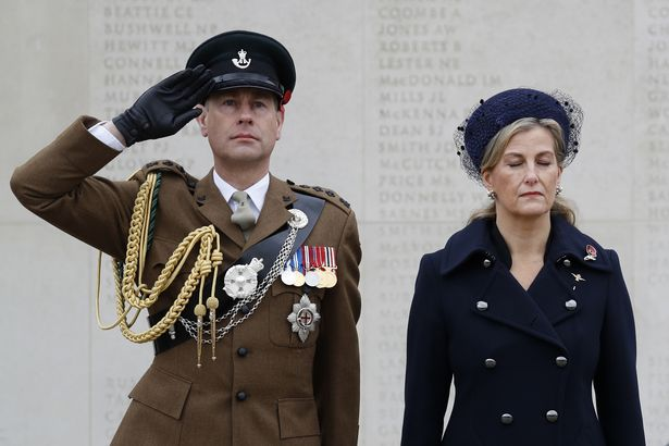 The Earl and Countess of Wessex during a service at the Armed Forces Memorial at the National Memorial Arboretum in Alrewas, Lichfield, to remember the war dead on Armistice Day.