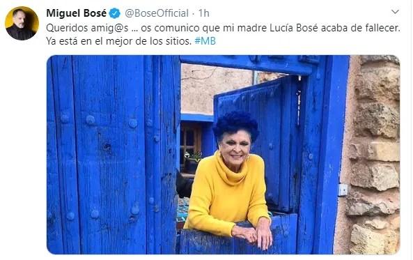 Foto: Miguel Bosé dio a conocer la muerte de su madre
