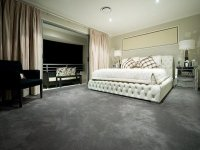 Modern bedroom design idea with carpet & balcony using ...