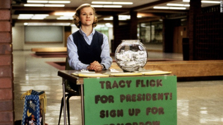 "This political season has been... a lot. If you are suffering from election fatigue, we can help you escape into the world of make believe with a few political films. Reese Witherspoon gives a brilliant performance in <strong>""Election""</strong> as Tracy Flick, the overachiever who will do just about anything to win student body president. Anything. Matthew Broderick plays civics teacher Jim McAllister, who's determined to derail her ""Pick Flick"" campaign."
