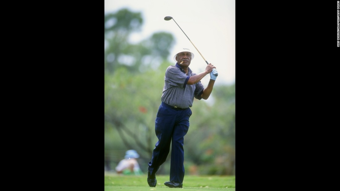 15 Apr 1993: Charles Sifford  swings during the PGA Senior Championships PGA National in Golf Course in Palm Beach Gardens, Florida. Mandatory Credit: Gary Newkirk  /Allsport