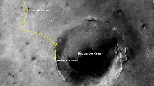 A handout photo from NASA shows the Opportunity rover's route since landing on Mars in 2004.
