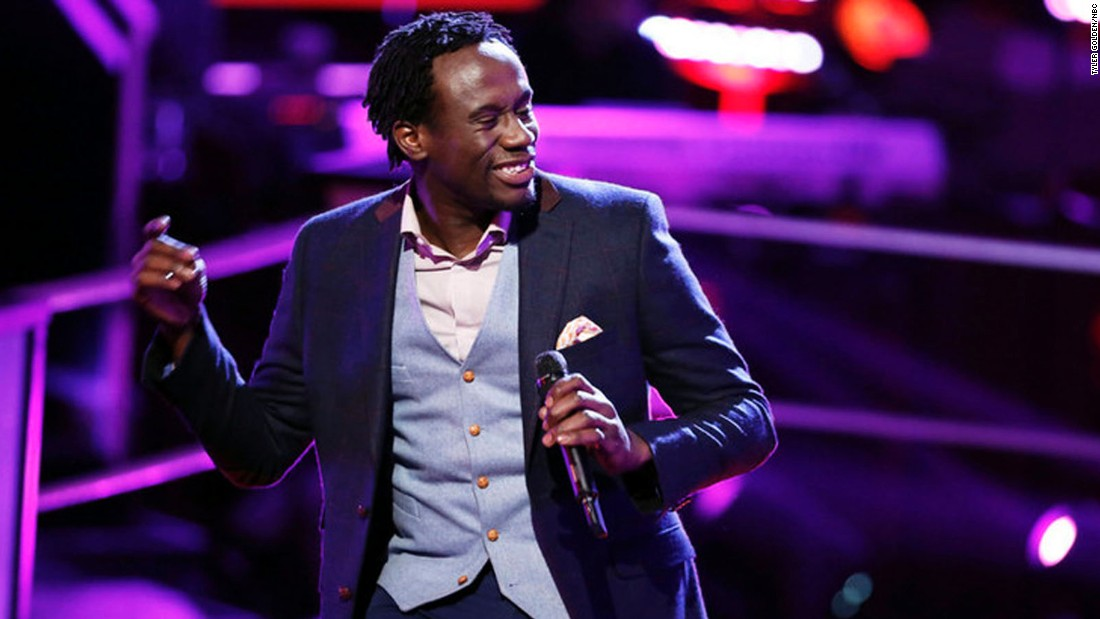 """Anthony Riley performs on an episode of """"The Voice"""""""