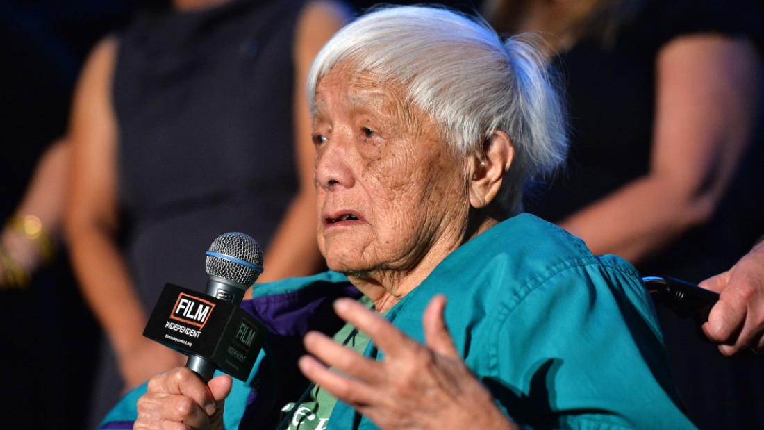 "Documentary subject Grace Lee Boggs speaks on stage at the ""American Revolutionary"" premiere during the 2013 Los Angeles Film Festival."