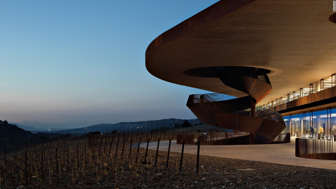 The famed Tuscan winemaker Antinori enlisted the firm Archea to create this corkscrew set of stairs made of steel, which overlooks their winery just outside of Florence.