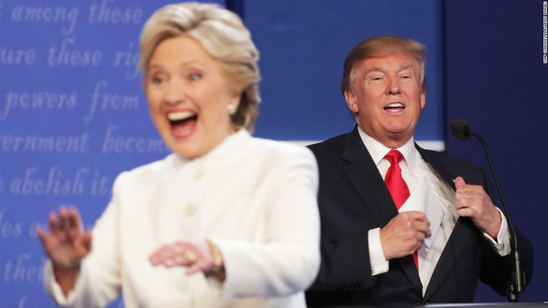 Image result for Photos of last debate between clinton and trump