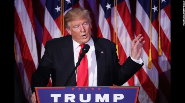 Donald Trump delivers his victory speech early Wednesday in New York.