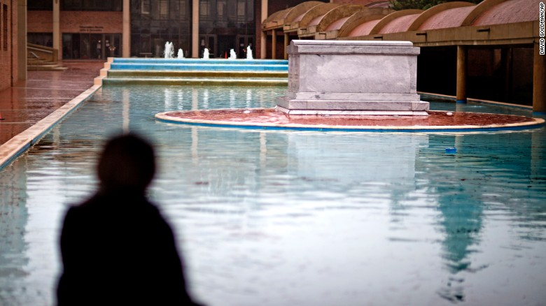 A reflecting pool surrounds the crypt of the Rev. Martin Luther King Jr. and his wife Coretta.