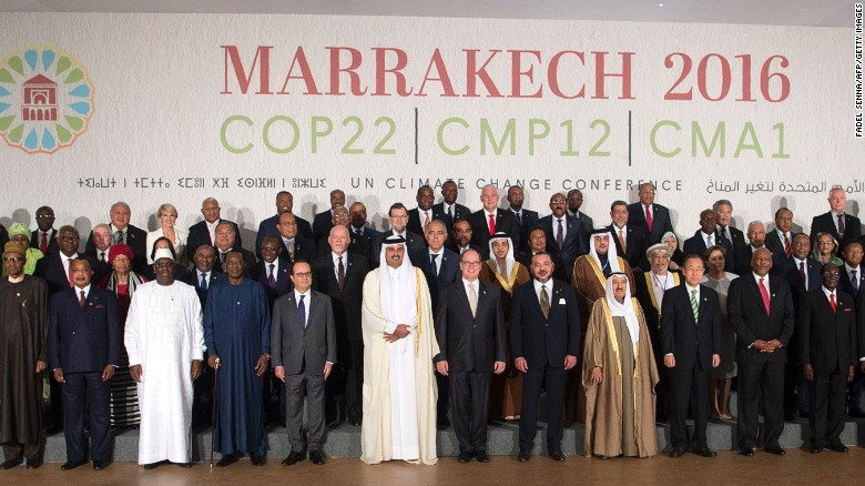 World leaders pose for a family photo at the UN World Climate Change Conference 2016 in Marrakesh, November 2016