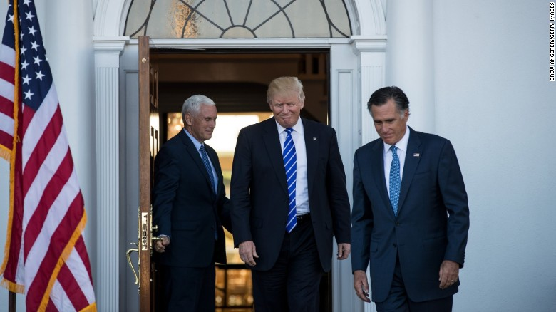 Vice President-elect Mike Pence, President-elect Donald Trump and 2012 Republican presidential nominee Mitt Romney leave the clubhouse after their meeting at Trump International Golf Club, Saturday, November 19, in Bedminster Township, New Jersey. Trump and <a href=