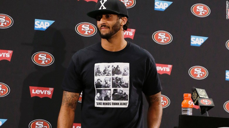 San Francisco 49ers quarterback Colin Kaepernick wore a shirt depicting Fidel Castro and Malcolm X after an August pre-season game.