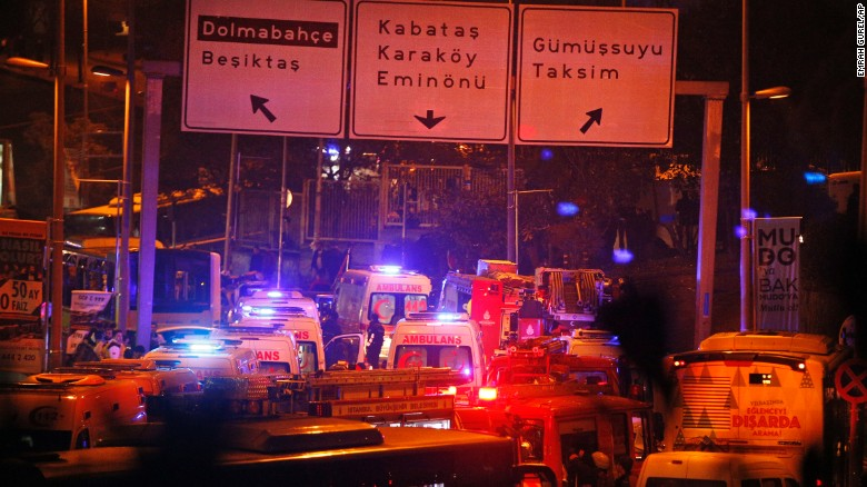 "Rescue services rush to the scene of explosions near the Besiktas football club stadium, following an <a href=""http://www.cnn.com/2016/12/10/europe/istanbul-explosions/index.html"" target=""_blank"">attack in Istanbul</a> late Saturday, December 10. At least 20 people were wounded after the two blasts, according to Turkey's state news agency Anadolu."