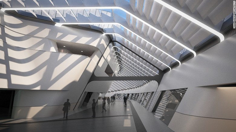Con l'obiettivo di essere molto più di una stazione ferroviaria, il design incorpora spazi pubblici, passeggiate, interni rilassanti e molta luce naturale.  La prima volta nel 2003, la stazione ferroviaria avrà preso quasi 15 anni per completare a causa di diversi ritardi.