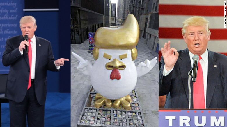 Rooster statue likens Donald Trump's hair and hand gestures.
