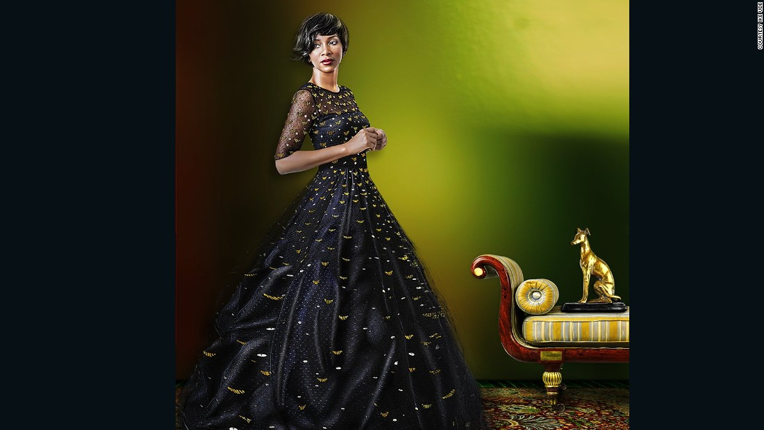 """In composing Nnaji's portrait, """"I was drawing from the grand, iconic African antique cultures of the Nile Valley civilization"""" says the photographer. """"There is a Janus-like moment whereby she motions forward while looking back, as it were, engaging both the past and the future."""""""