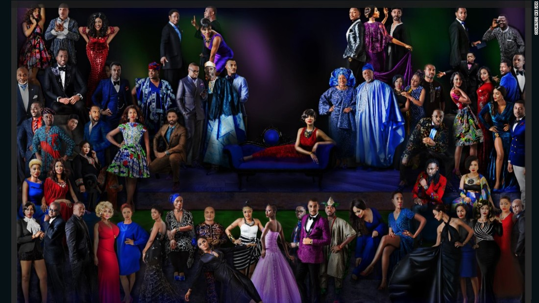 """This grand portrait of all 64 celebrities titled 'The School of Nollywood' is inspired by Raphael's 1509 painting 'The School of Athens', which adorns the Vatican's Apostolic Palace. <br /><br />""""It was a daunting undertaking,"""" Udé told CNN, """"but worth every effort and breath that I spent on it."""""""