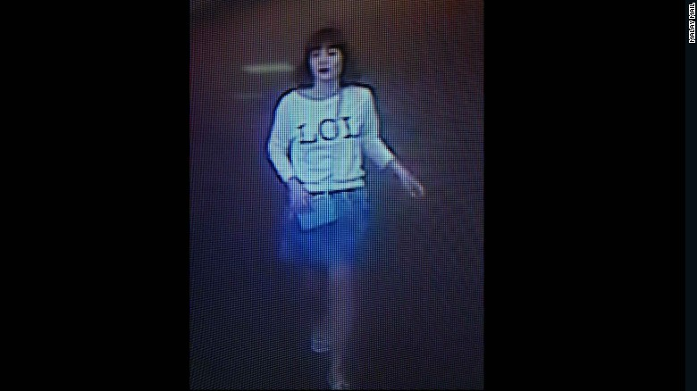 """A photo of security footage shows a suspect wearing a shirt with """"LOL"""" on it in Sepang, Malaysia, on Monday, February 13."""