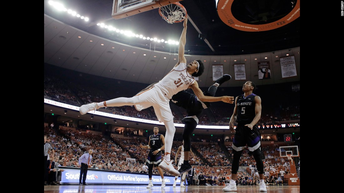 Texas forward Jarrett Allen is fouled by Kansas State's D.J. Johnson while trying to score in Austin, Texas, on Saturday, February 18.