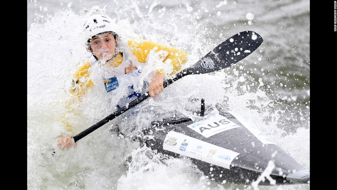 Australian canoeist Billie Knell competes in a slalom event in Sydney on Friday, February 17.