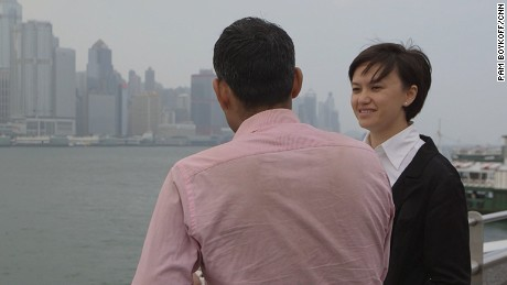 """Trafficking victim """"ZN"""" with his lawyer Patricia Ho."""