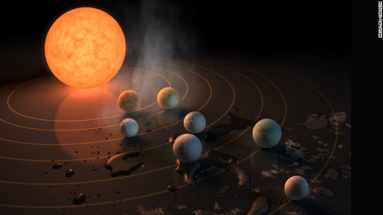 The TRAPPIST-1 star, an ultracool dwarf, has seven Earth-size planets orbiting it.