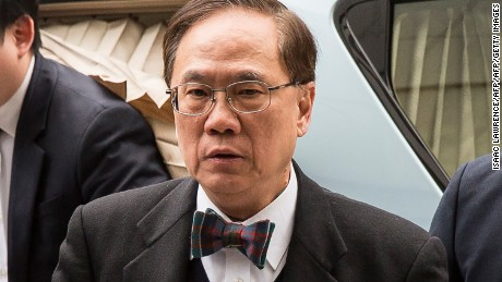 Former Hong Kong chief executive Donald Tsang (C) arrives at the High Court for sentencing after being found guilty of misconduct in Hong Kong on February 20, 2017.