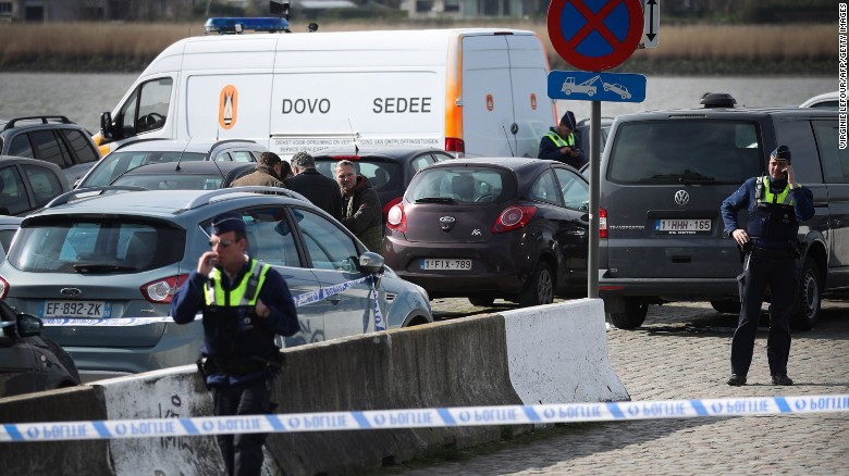 Belgian police respond Thursday after a man allegedly drove a speeding car toward a crowd in Antwerp.