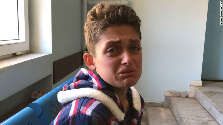 Mazin Yusif, 13, tells a harrowing story of being caught up in the apparent chemical attack.