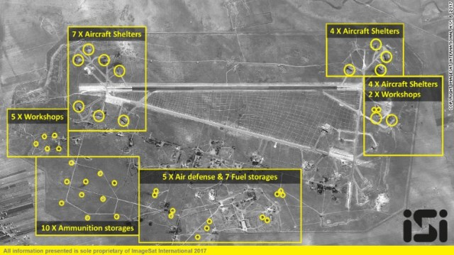 A satellite photo of the Shayrat air base after the US missile strikes.