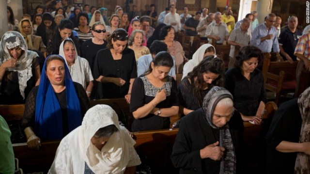 Coptic Christians in Cairo pray for the victims of EgyptAir Flight 804 crash in May 2016.