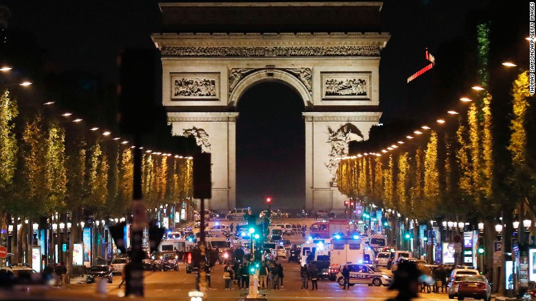 "Police officers block access to the Champs-Elysées in Paris <a href=""http://www.cnn.com/2017/04/20/europe/champs-elyses-in-paris-closed/index.html"">after a shooting</a> on Thursday, April 20. One police officer and an attacker were killed, according to CNN affiliate BFMTV and the French Interior Ministry."