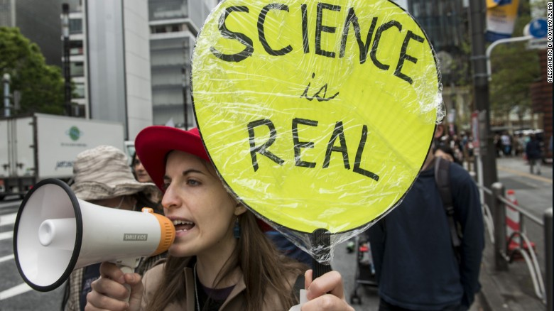 Americans living in Japan take part in Saturday's March for Science in Tokyo.