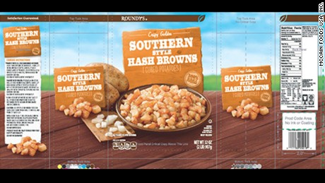 Frozen hash brown recall due to possible  'extraneous golf ball materials'