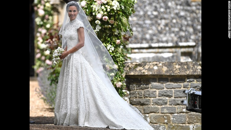 Pippa Middleton arrives for her wedding to James Matthews at St Mark's Church